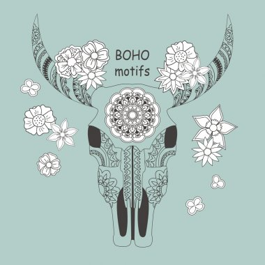 boho card with cow skull and flowers