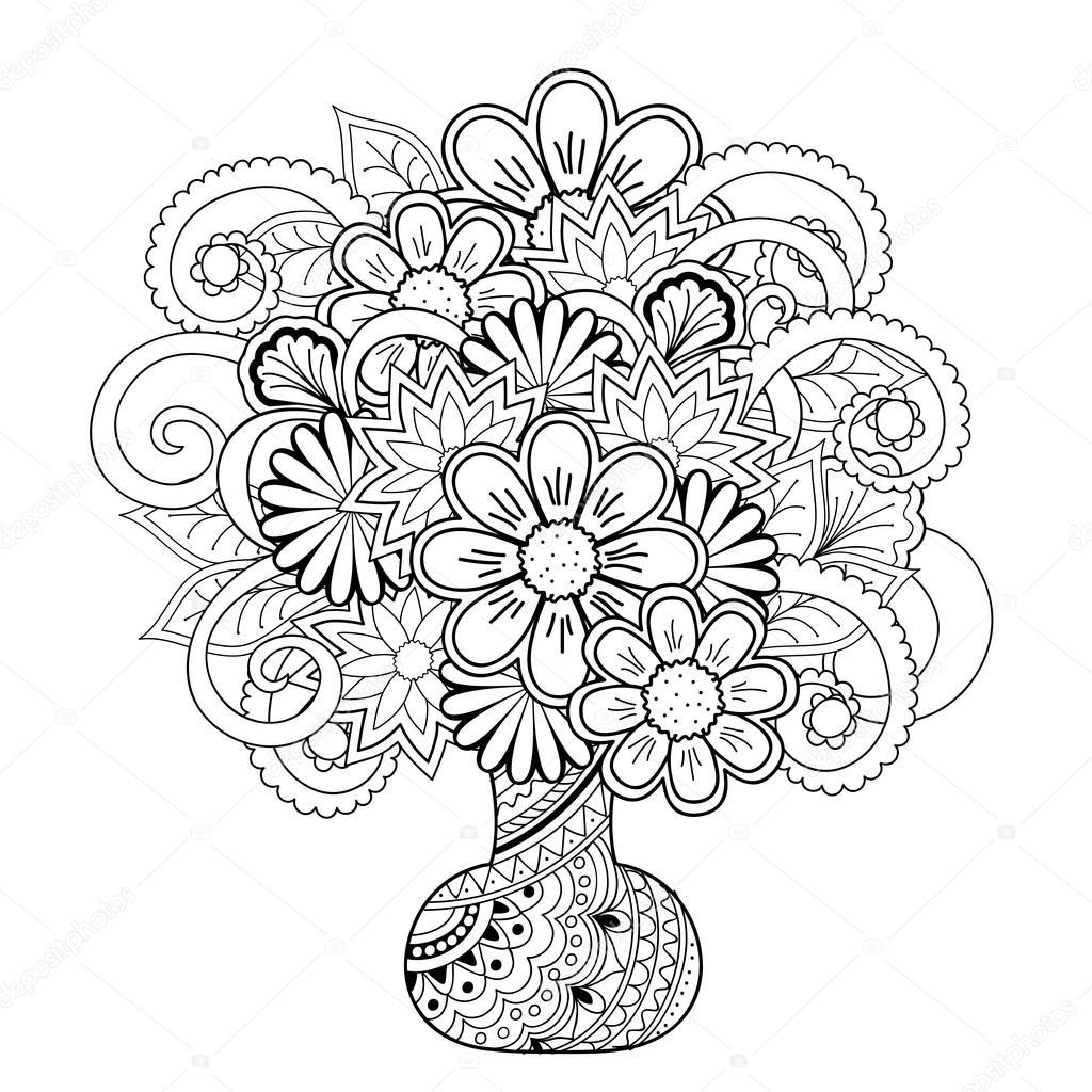 Kleurplaten Vaas Met Bloemen.Vaas Met Bloemen Van De Doodle Stockvector C Sliplee 108177398