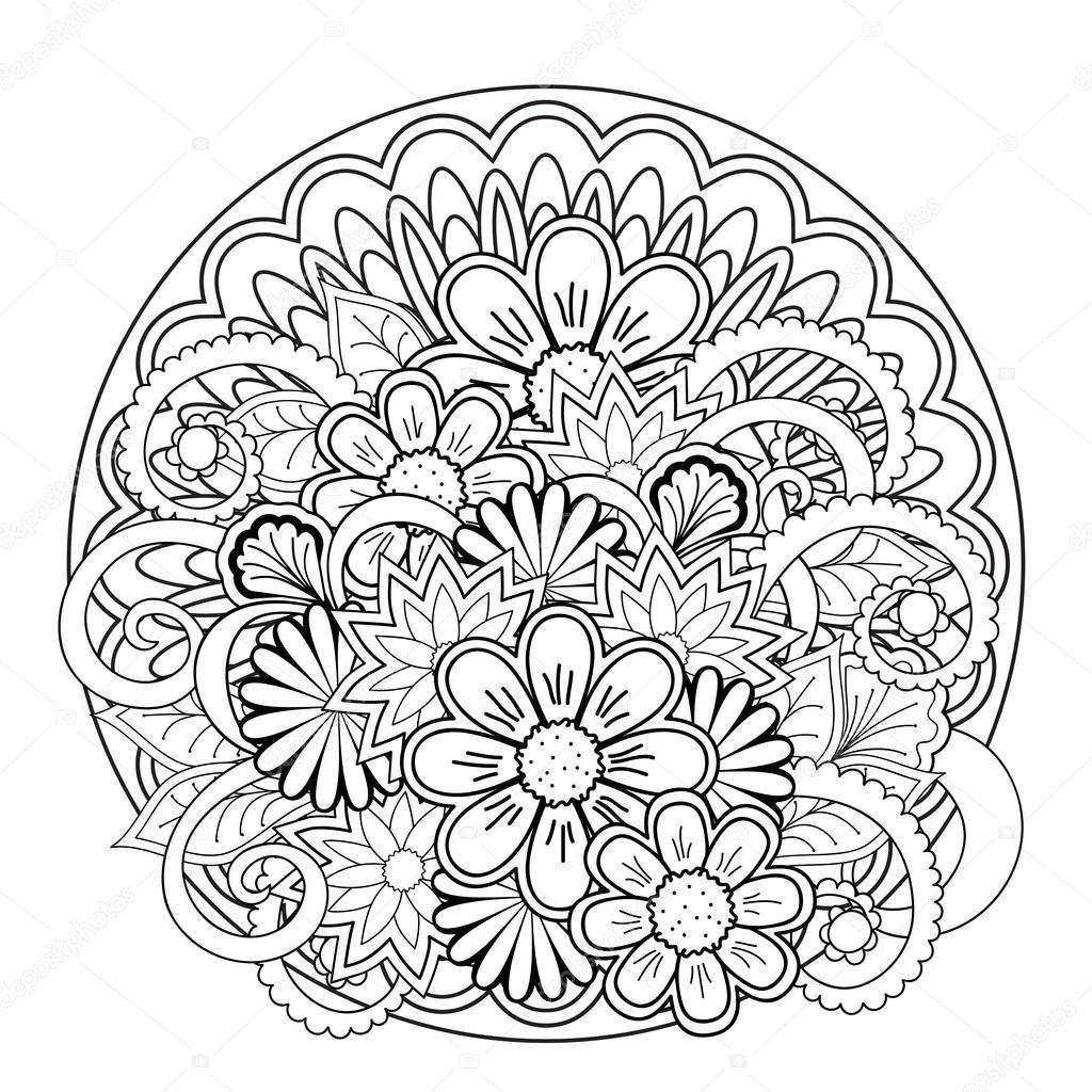 Doodle Gewirr Blume und mandalas — Stockvektor © sliplee #108177430