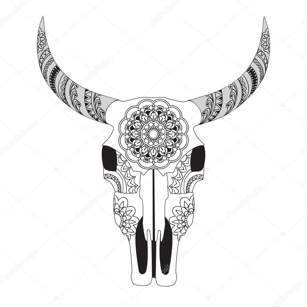 Cráneo de vaca decorada con mandala — Vector de stock © sliplee ...