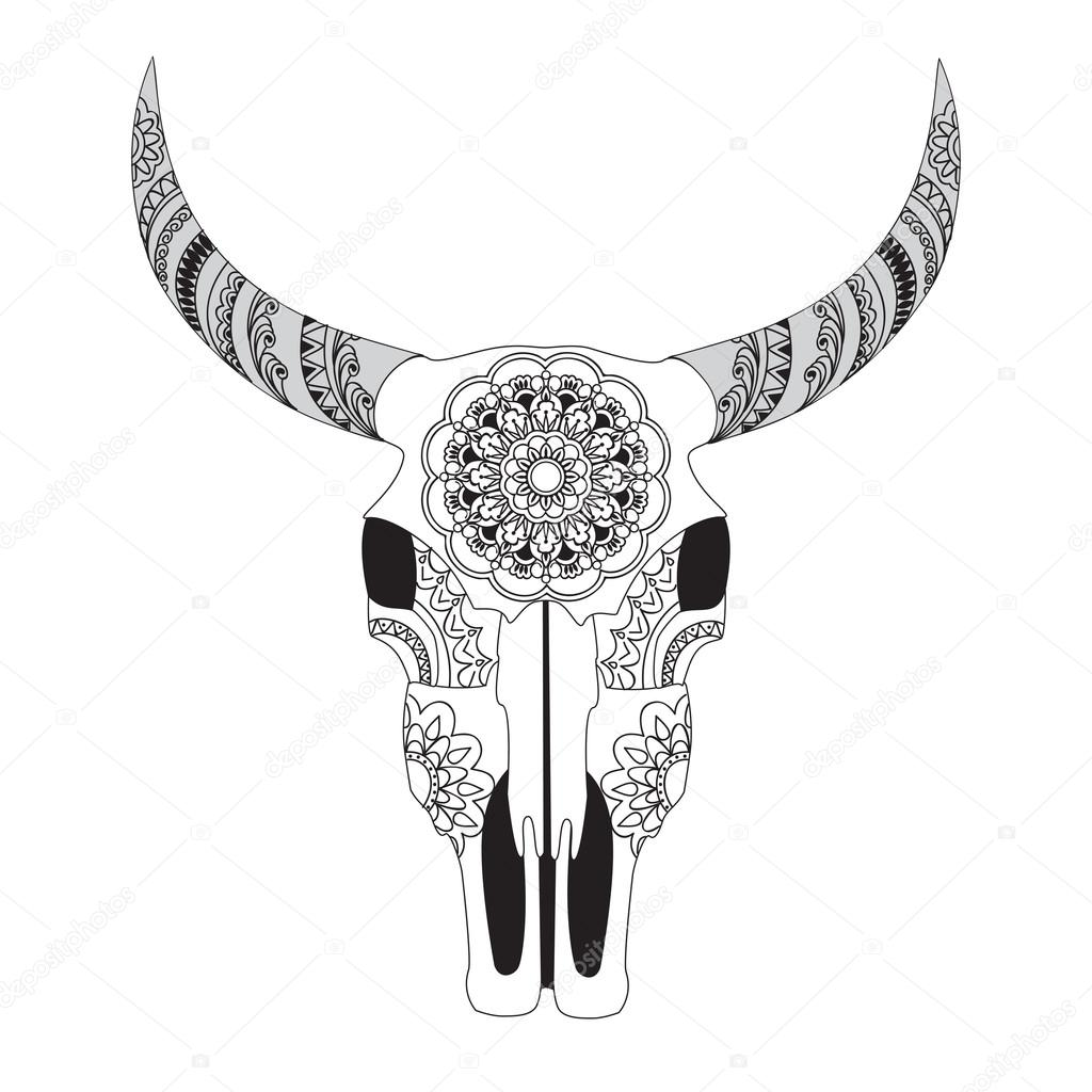 decorated cow skull with mandala u2014 stock vector sliplee 108177434