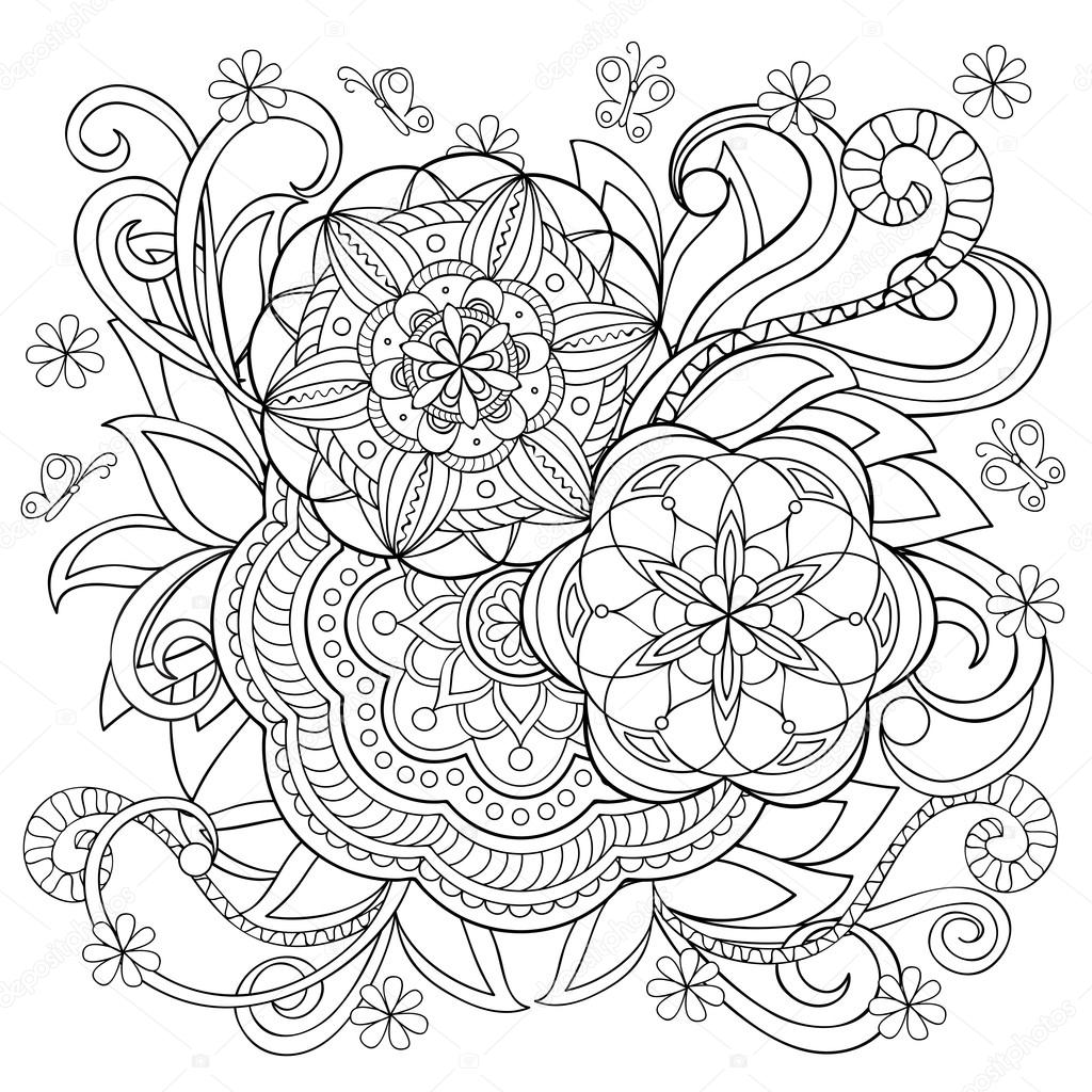 Doodle Bloem En Mandala S Stockvector 169 Sliplee 108177438