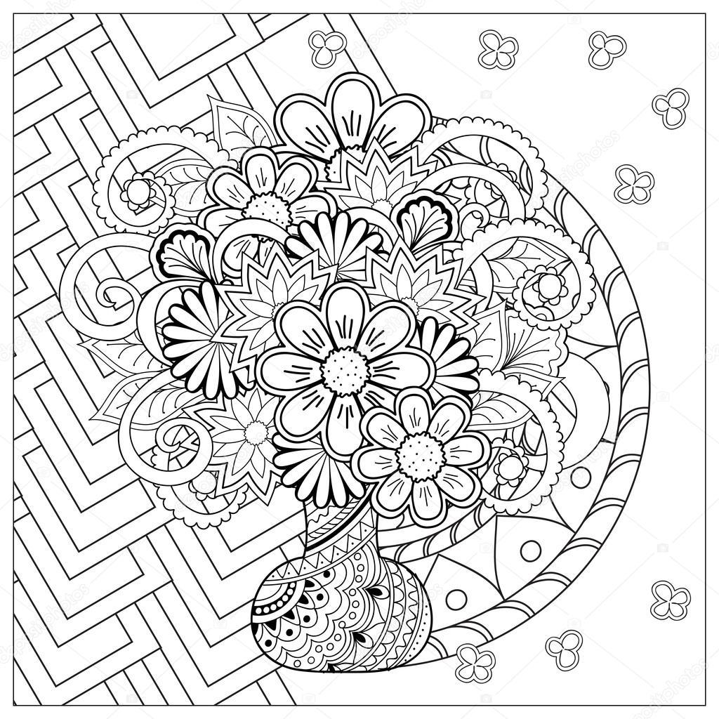 florero con flores de doodle y mandala — Archivo Imágenes ...