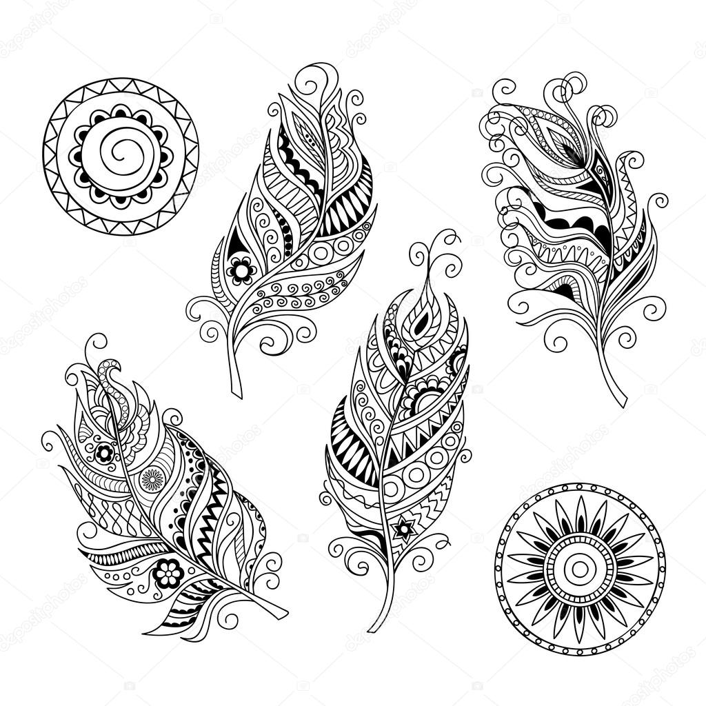 doodle feathers and mandalas — Stock Vector © sliplee #108177668