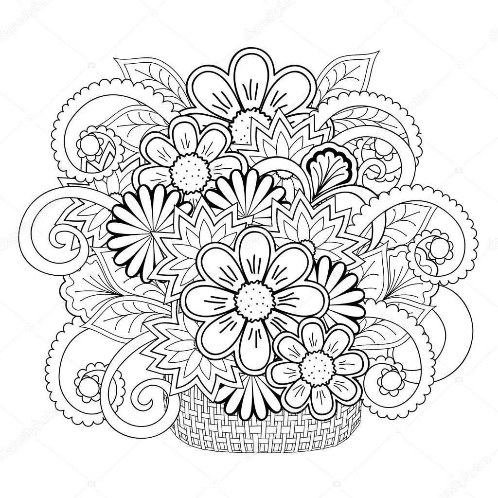 Doodle Dolaştırmak çiçek Sepeti Stok Vektör Sliplee 108177786