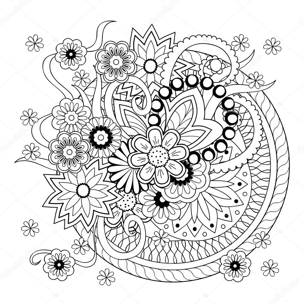Background With Doodle Tangle Flowers And Mandalas Stock Vector
