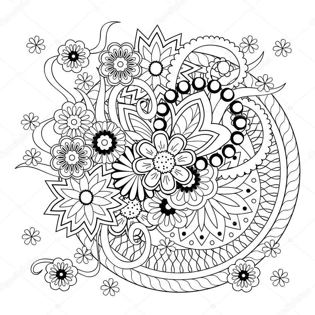 fondo con doodle maraña flores y mandalas — Archivo Imágenes ...