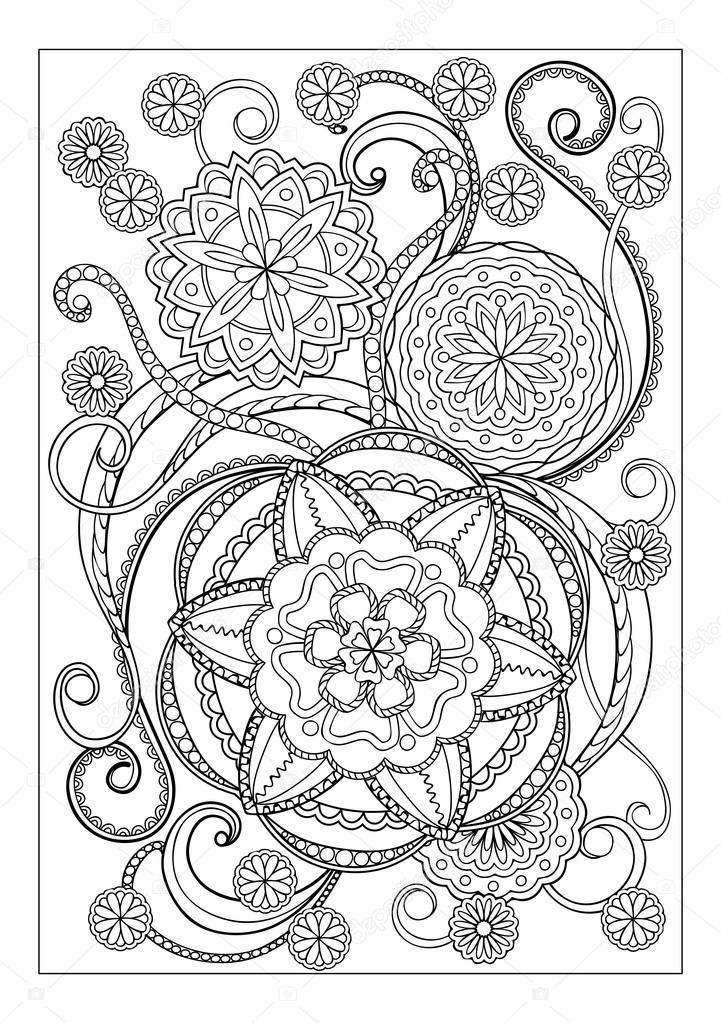 Mandalas hoja a4 | IMADE con mandalas y flores — Vector de stock ...