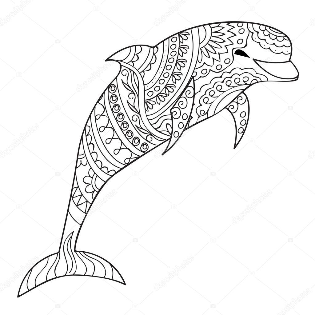 na białym tle delfin 243 w na białym grafika wektorowa