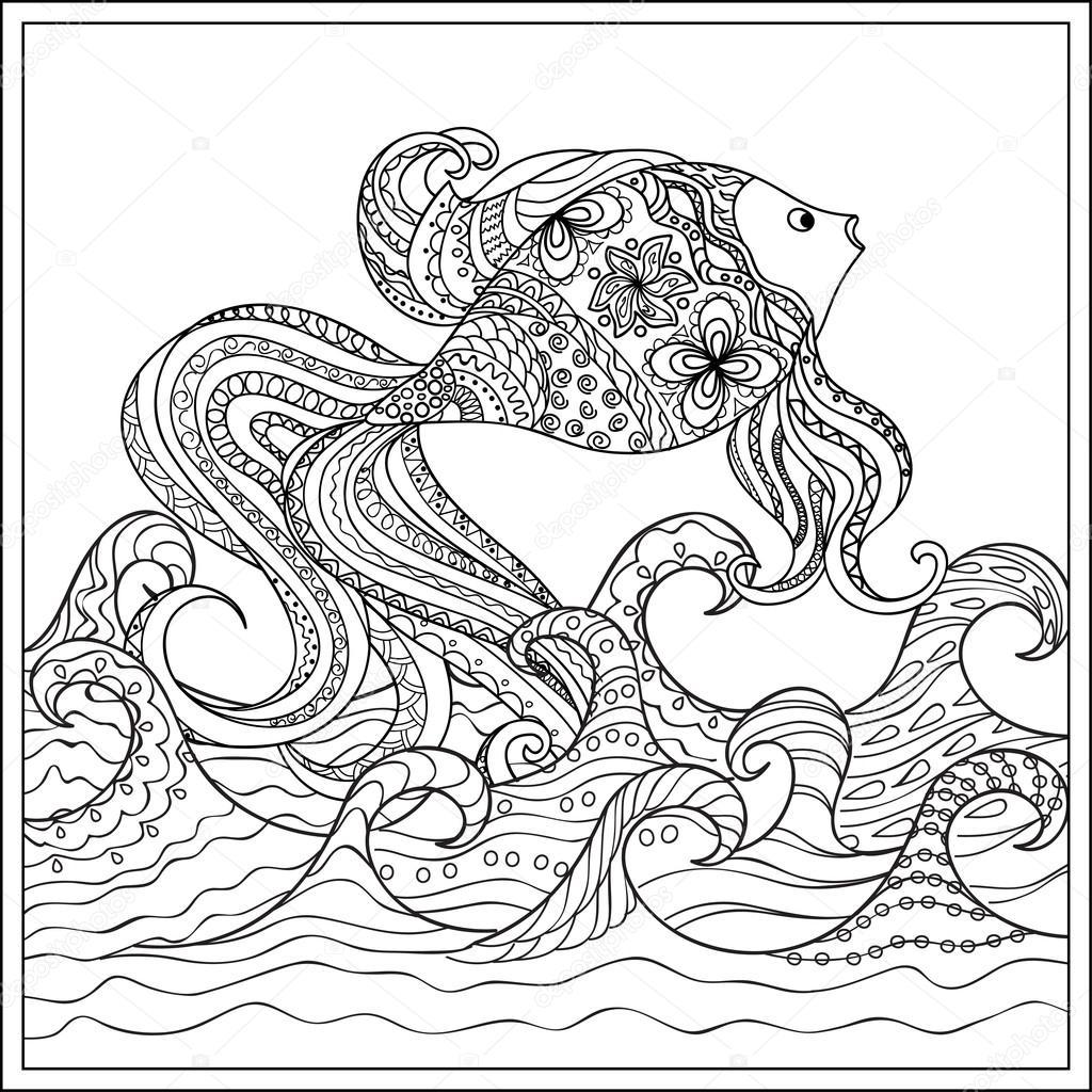 Peces de colores en las olas — Archivo Imágenes Vectoriales ...