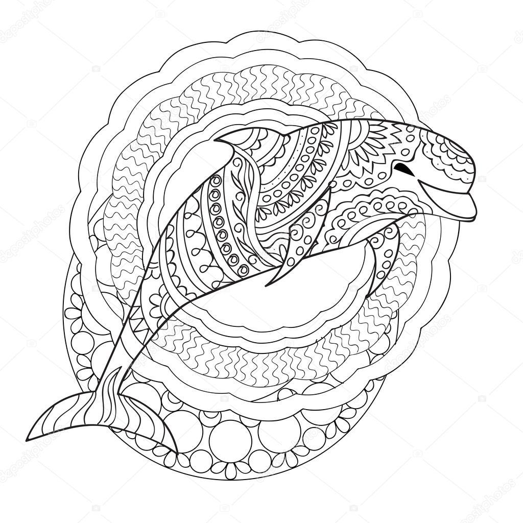 Delfín y mandalas — Vector de stock © sliplee #114412170