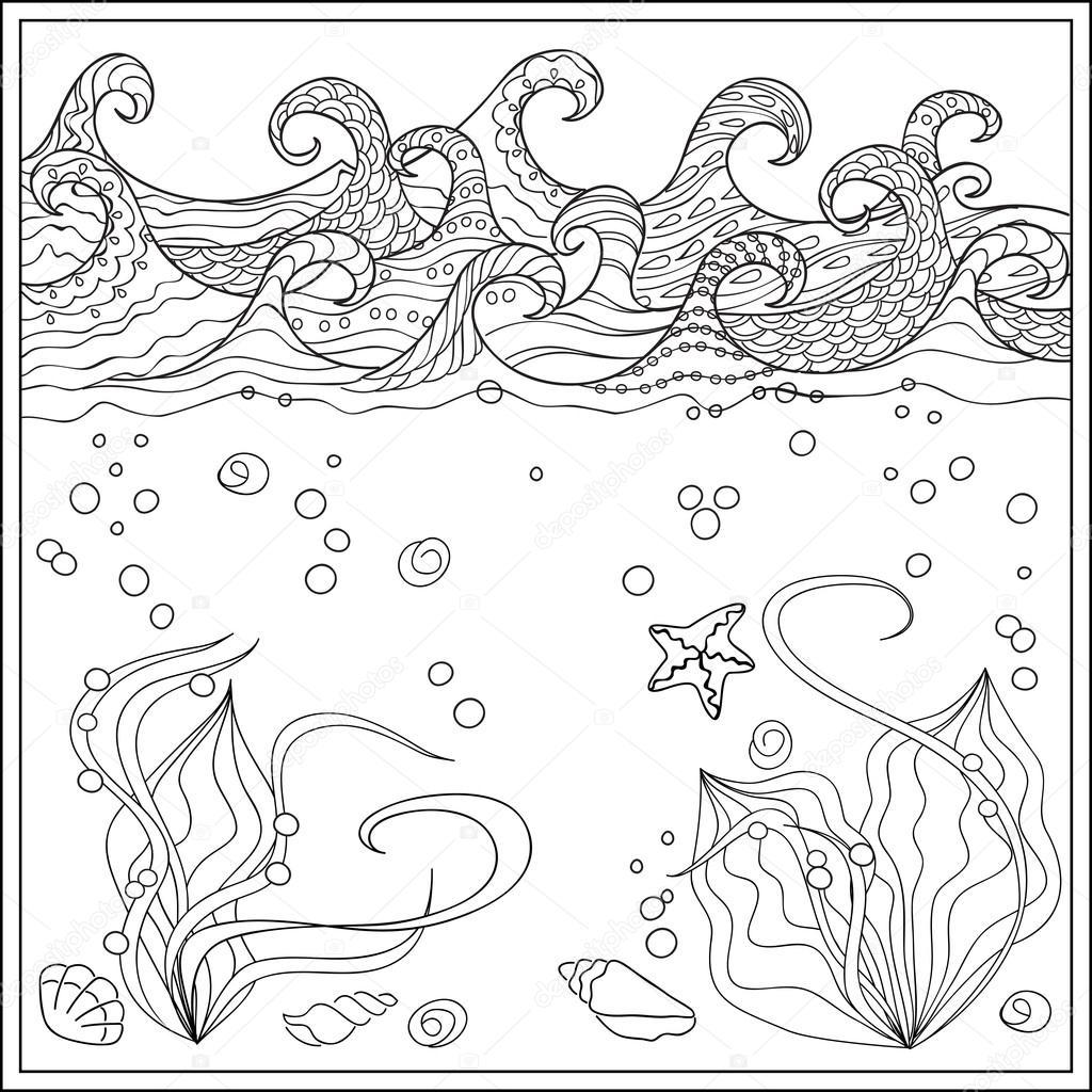 Estrella De Mar En El Océano Archivo Imágenes Vectoriales