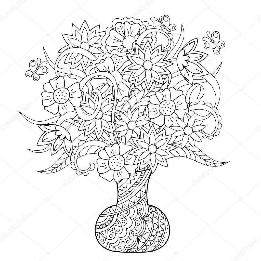 vaas met bloemen en vlinders stockvector 169 sliplee
