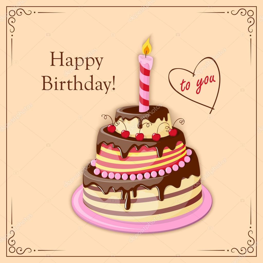 Birthday Card With Cake Tier Candle And Text Stock Vector