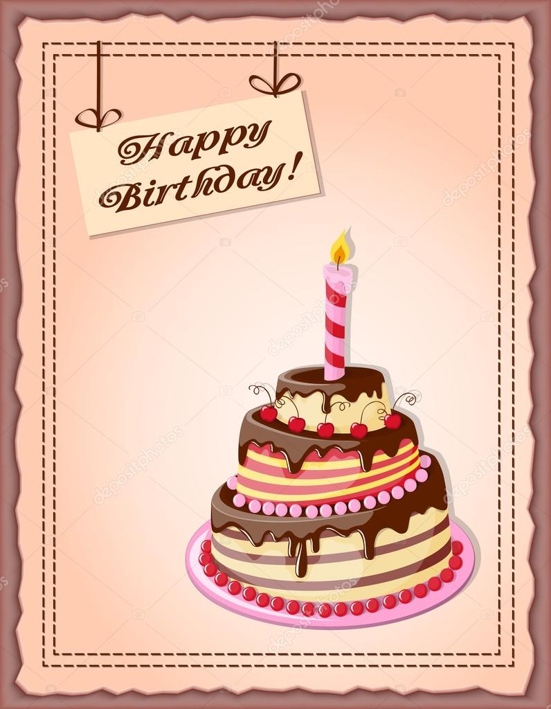 Birthday card with cake tier candle cherry and text stock vector birthday card with cake tier candle cherry and text stock vector kristyandbryce Image collections