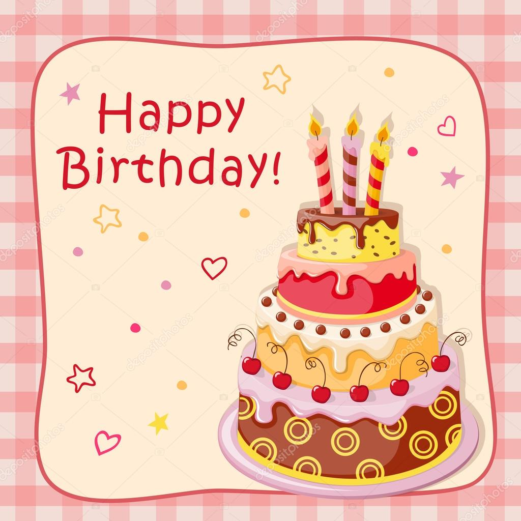 Birthday Card With Cake Tier Candles Cherry And Text Stock