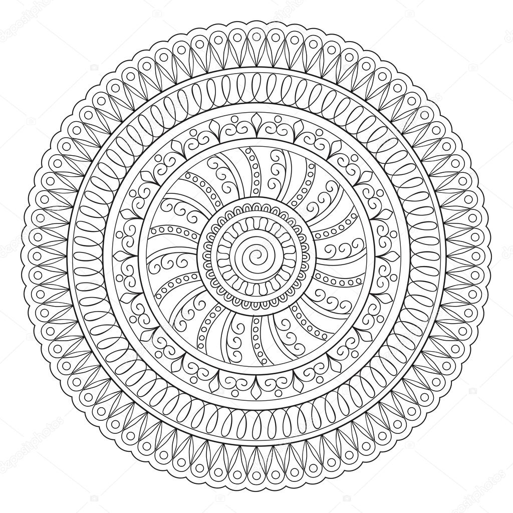 Doodle mándala oriental — Vector de stock © sliplee #118437644
