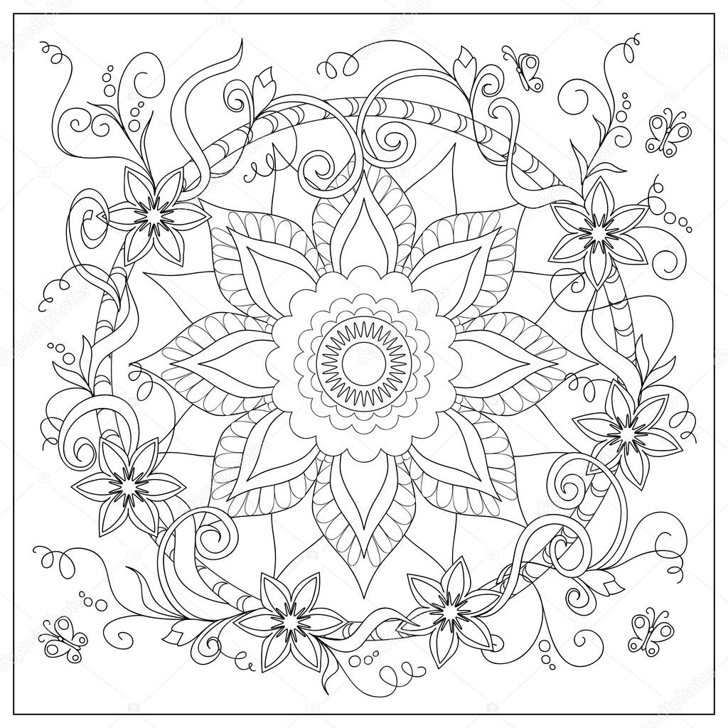 Tangled Flowers And Butterflies In The Circle Stock Vector C Sliplee 120532472