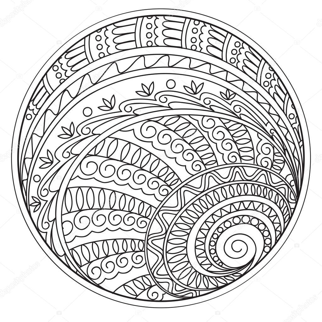 mandalas y formas geométricas en el círculo — Vector de stock ...