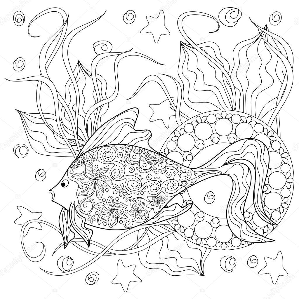 Doodle Fisch und mandalas — Stockvektor © sliplee #93375260