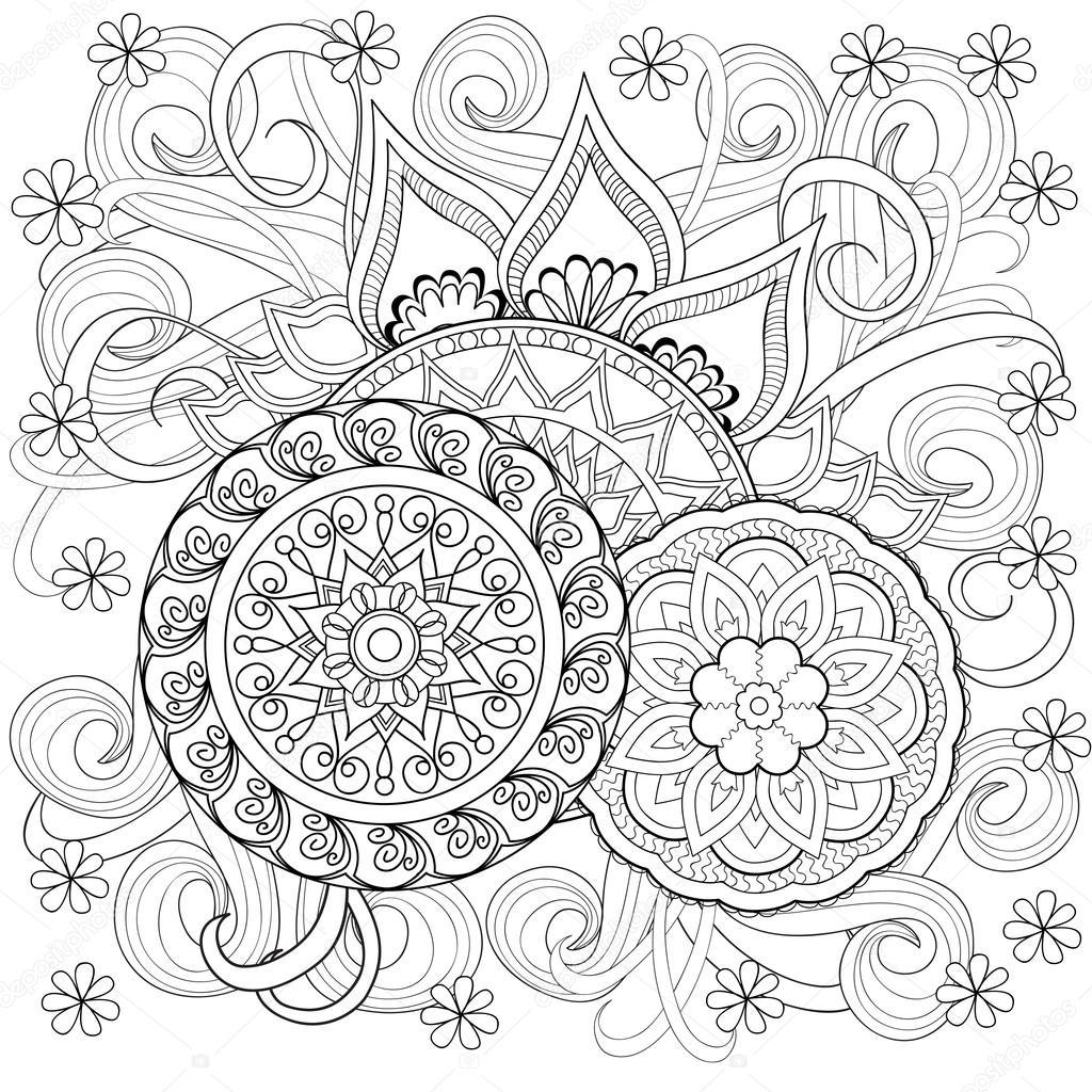 Doodle kwiaty i mandale — Grafika wektorowa © sliplee ...