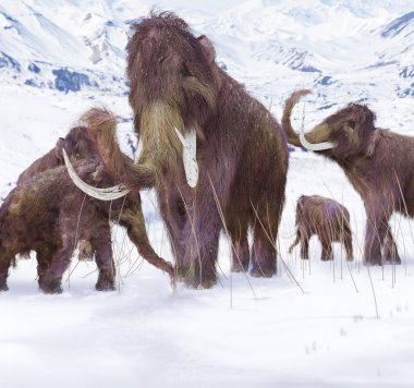 Wooly Mammoth Ice Age Scene