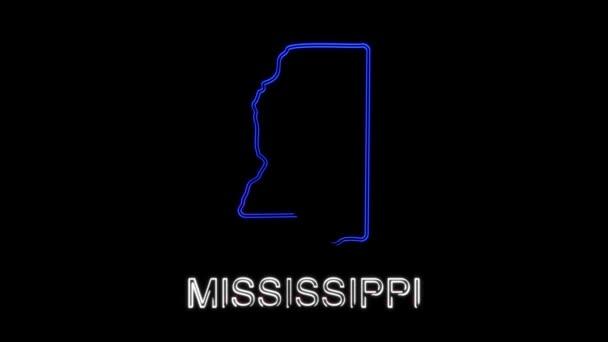 Neonově animovaná mapa zobrazující stav Minnesoty ze Spojených států amerických. 2d mapa Minnesoty.
