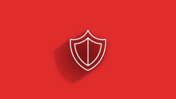 Kiber biztonsági vonal árnyékikon pajzzsal és ellenőrző jellel. Biztonsági koncepció. Mozgókép.