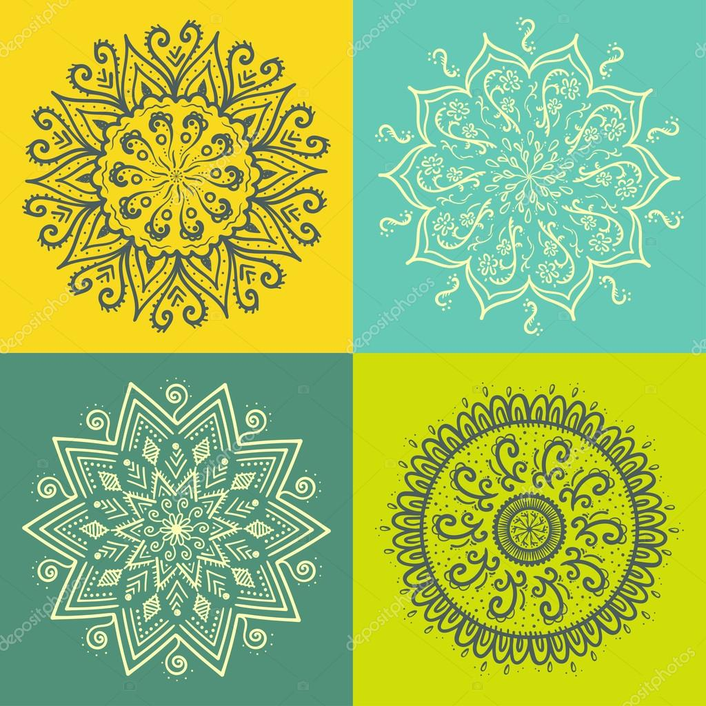 Mandala. Round ornament pattern set.