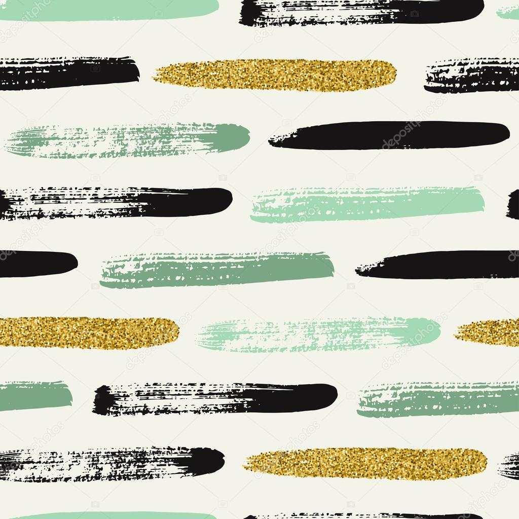 Seamless pattern with gold glitter brush strokes.