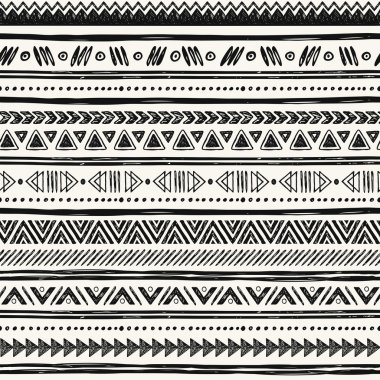 Tribal hand drawn background, ethic doodle pattern.
