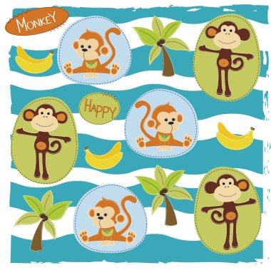 Pattern with happy monkeys vector illustration