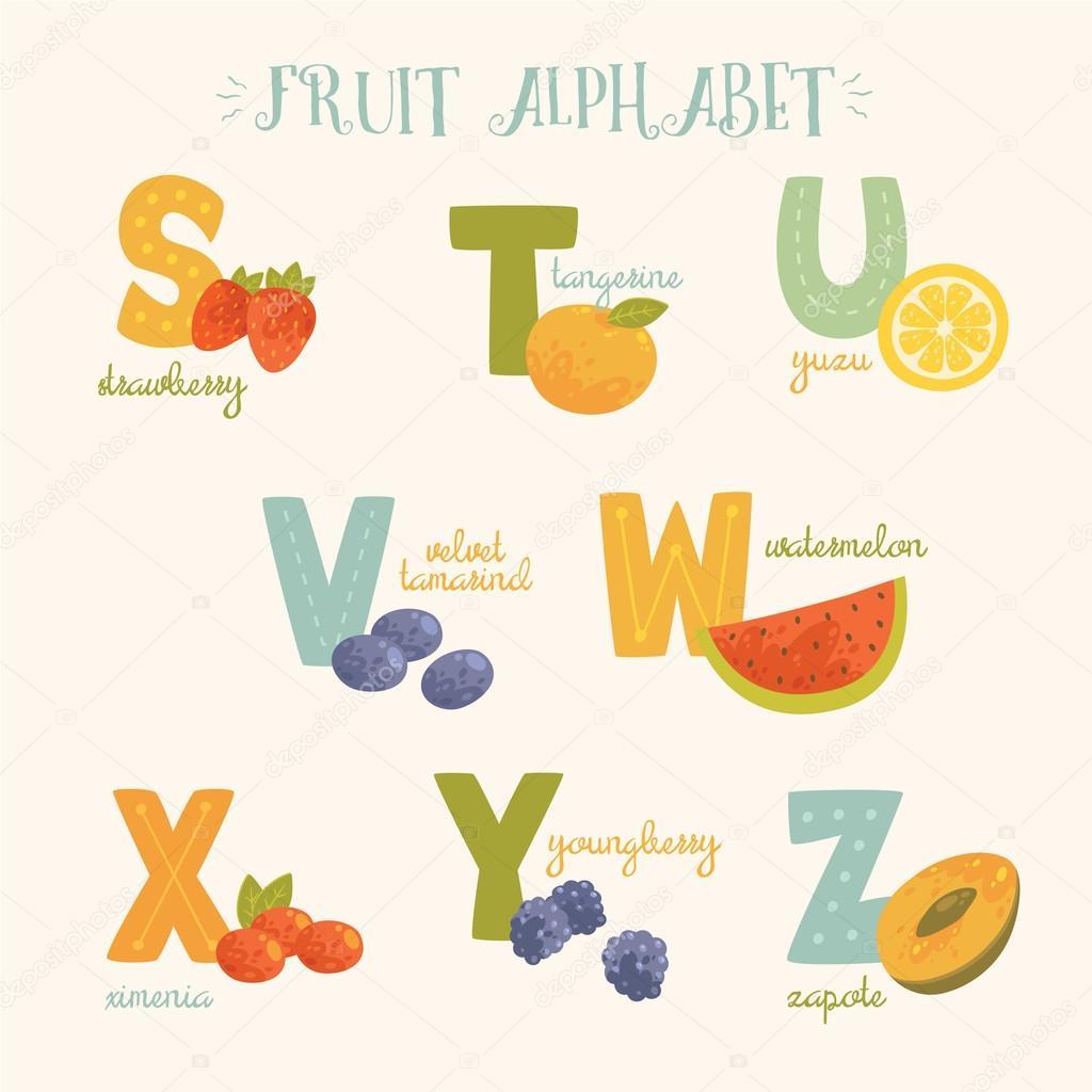 Alphabet de vecteur de fruits colorés. S, t, u, v, w, x, y, lettres ...