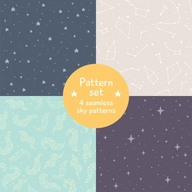 Vector set of four cute seamless patterns. Simple pastel sky textures with stars and constellations. Seamless pattern can be use