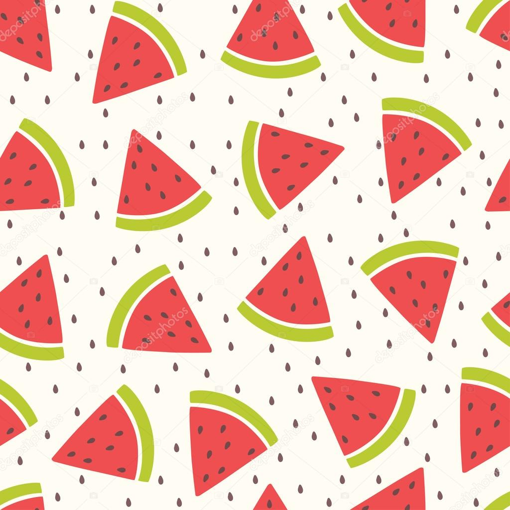 Cute Vector Seamless Pattern With Watermelon Slices Summer