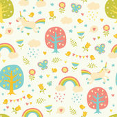 Photo Lovely vector seamless pattern with cute unicorns.