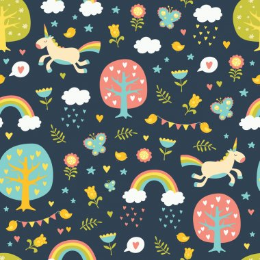 Lovely vector seamless pattern with cute unicorns.