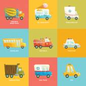 Photo Cute colorful set of cars in vector. Cartoon collection. Ice cream truck, ambulance car, school bus, fire truck, police car, garbage truck, mail truck, concrete mixer truck and taxi in bright colors.