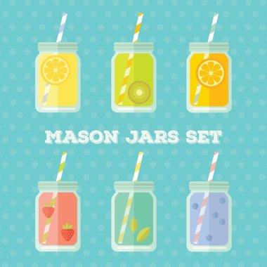 Flat colorful design style modern vector illustration set of mason jar vectors. Summer lemonades with fruits: lemon, kiwi, orange, strawberries, mint, blueberries isolated on blue dotted background.
