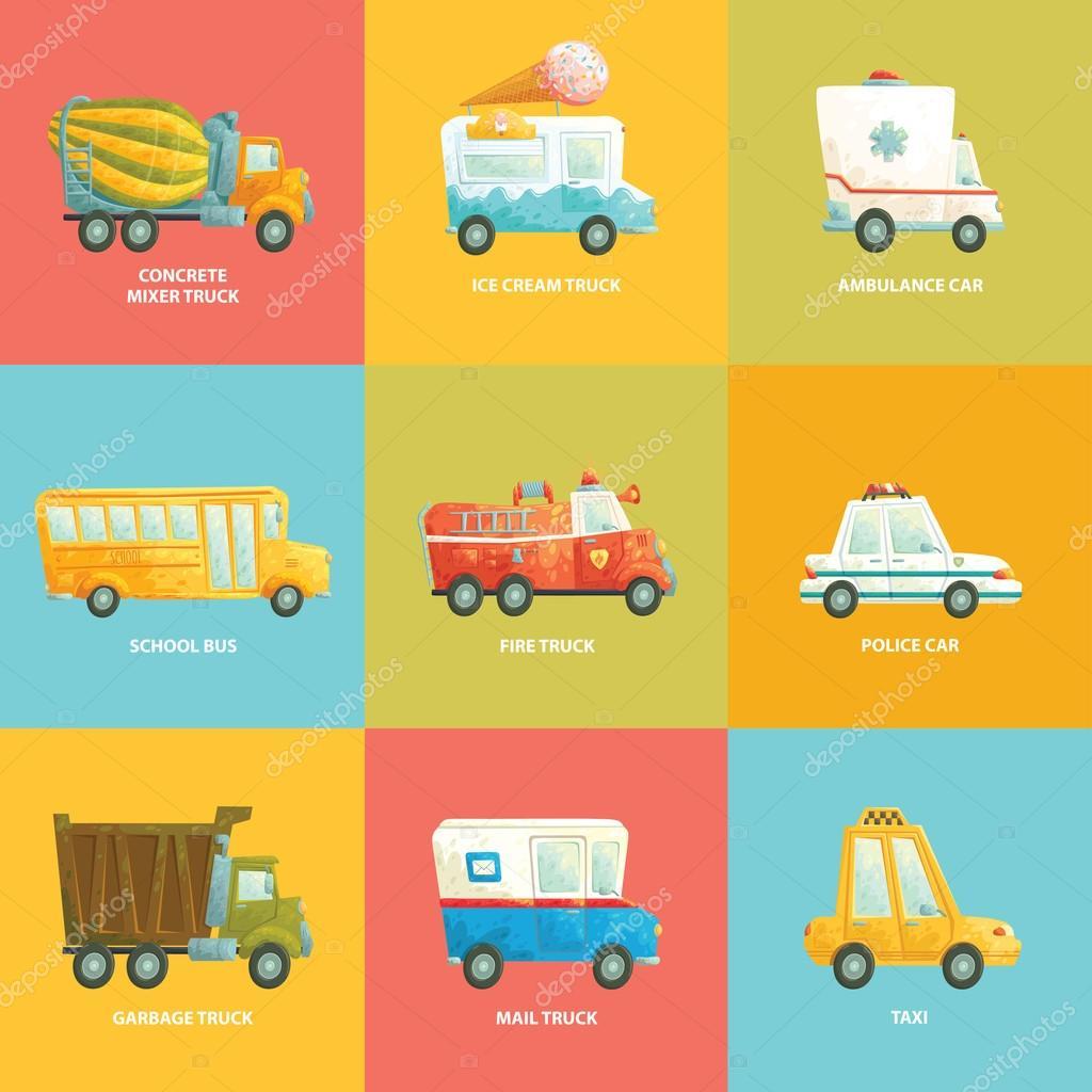 lindo conjunto colorido de carros em vetor coleção de desenhos