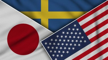 Sweden United States of America Japan Flags Together Fabric Texture Effect Illustration