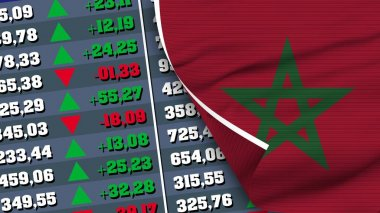 Morocco Flag and Finance, Stock Exchange, Stock Market Chart, Fabric Texture Illustration