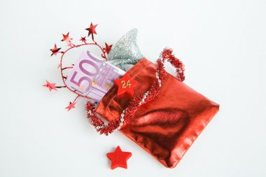 Christmas present, Advent calendar, small bag with money