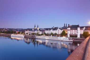 Koblenz ,View from Balduin bridge of old town with churches and