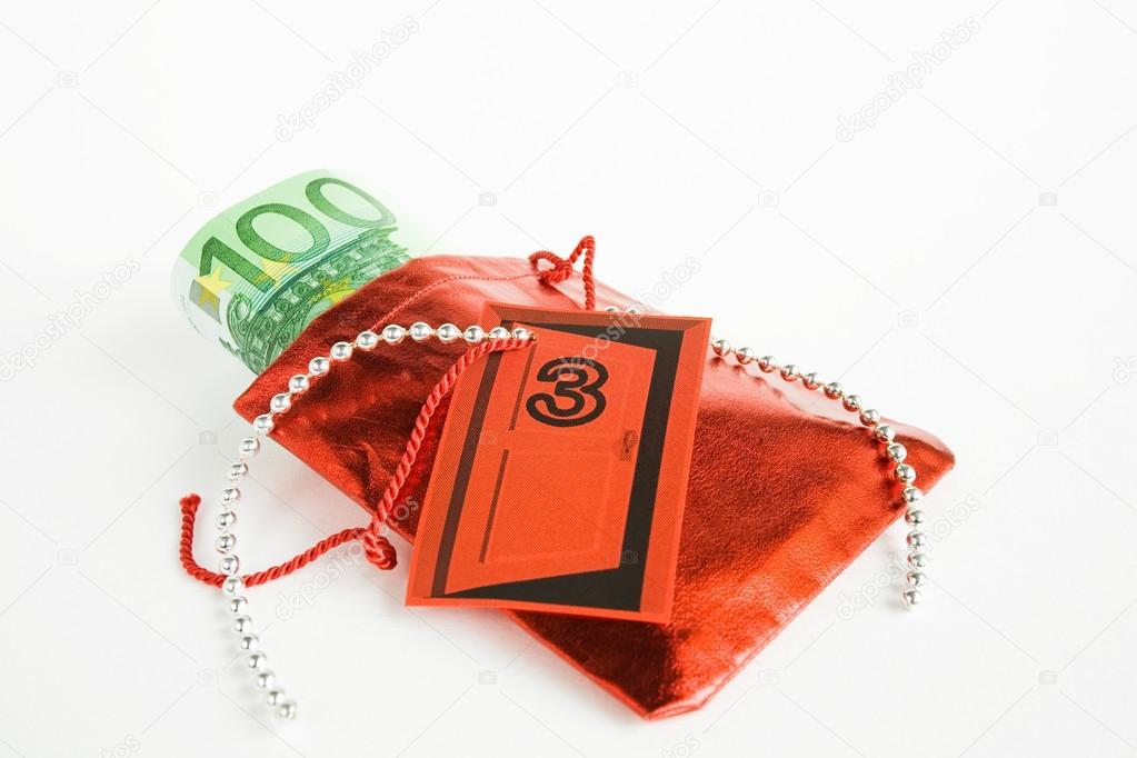 cadeau de no l calendrier de l 39 avent petit sac avec de l 39 argent photographie tunedin61. Black Bedroom Furniture Sets. Home Design Ideas
