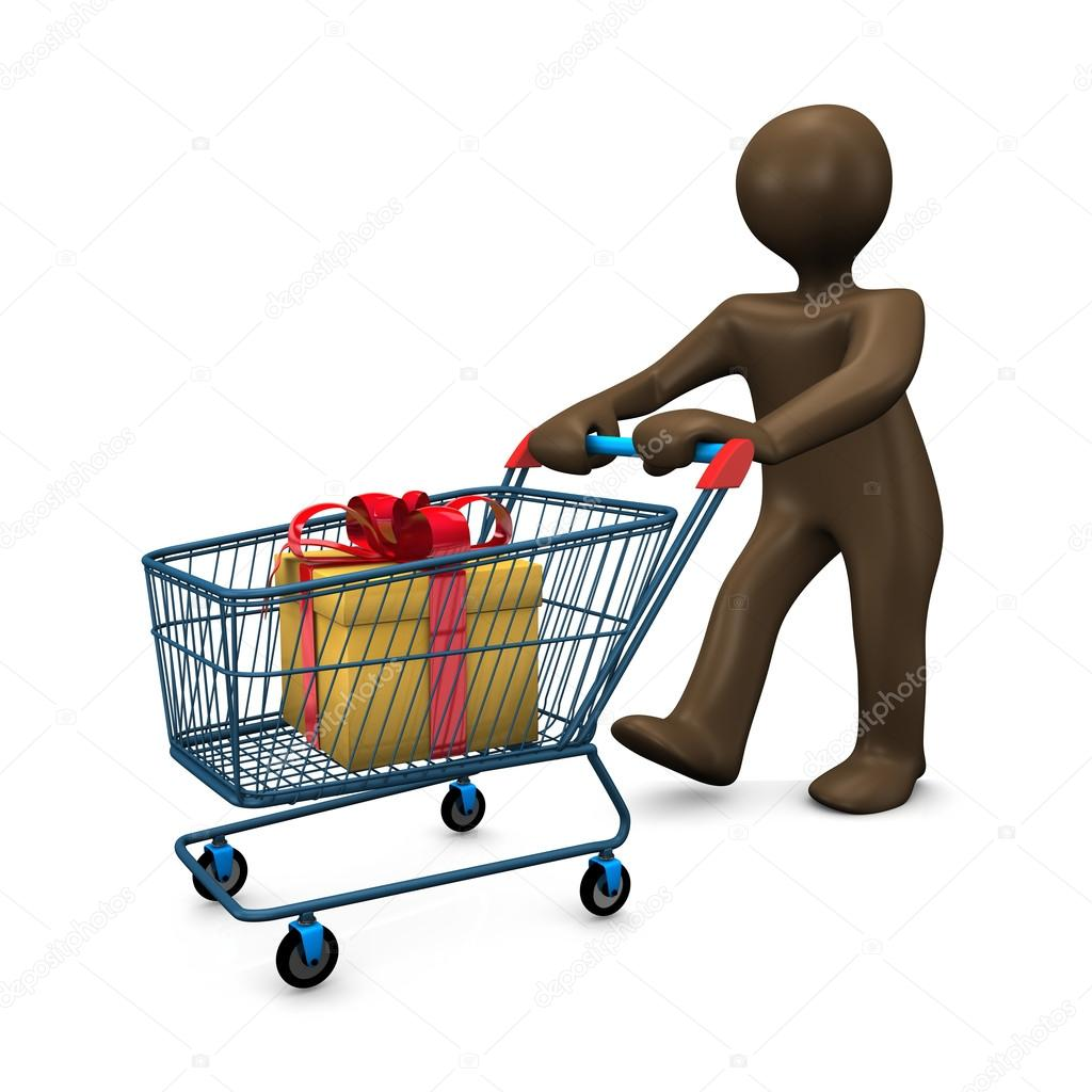 3D Illustration, Brown figurine, shopping cart, shopping