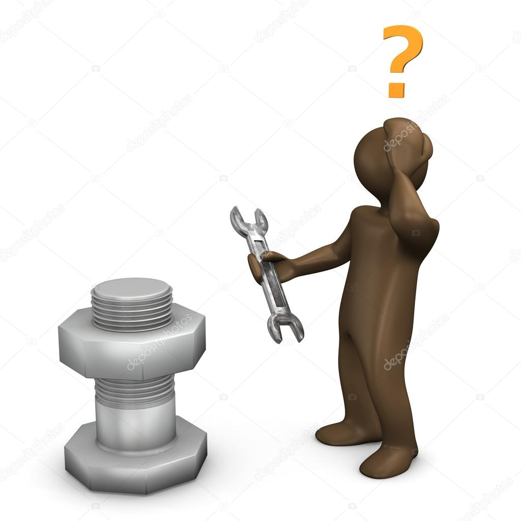 3D Illustration, Brown figurine, wrong tool
