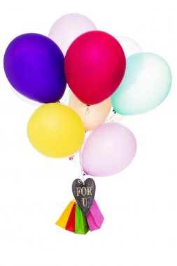 Colorful balloons, bags and heart, text for you