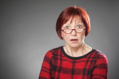 Red-haired woman, Portrait, Facial expression, amazed