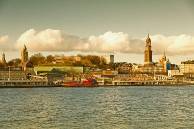 Germany, Hamburg, St. Michael's Church, from the river Elbe